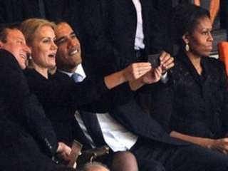Taking a selfie at Nelson Mandela's funeral? Classic Barry