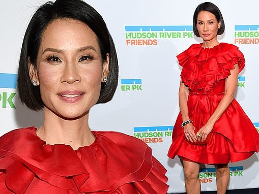 Lucy Liu stuns in red frock with frilly layered bodice at Hudson River Park Gala in NYC