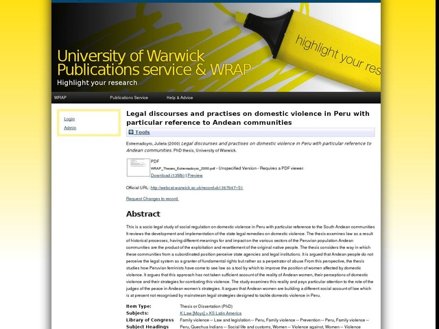 Legal discourses and practises on domestic violence in Peru with particular reference to Andean communities