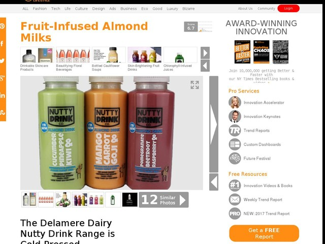 Fruit-Infused Almond Milks - The Delamere Dairy Nutty Drink Range is Cold-Pressed (TrendHunter.com)