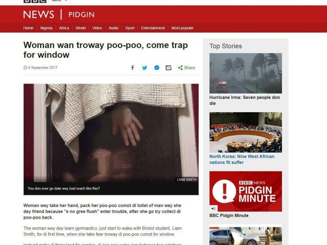 'Woman troway di poo-poo': BBC's Pidgin website translation of 'Tinder poo' story goes viral