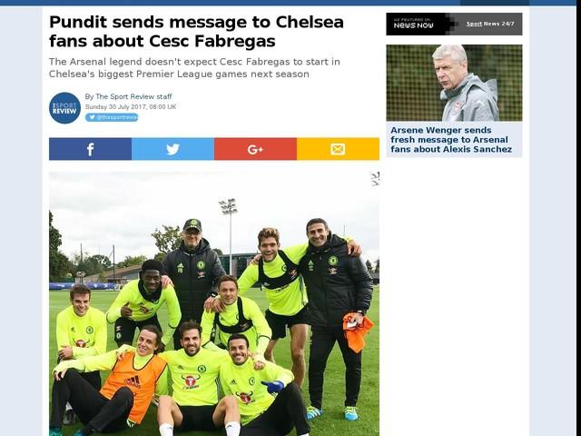 Pundit sends message to Chelsea fans about Cesc Fabregas