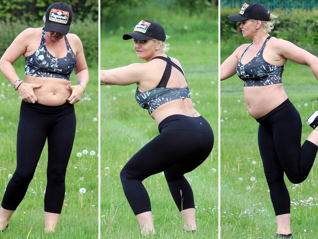 Danniella Westbrook strips off to her sports bra as she tries to get into shape after rehab