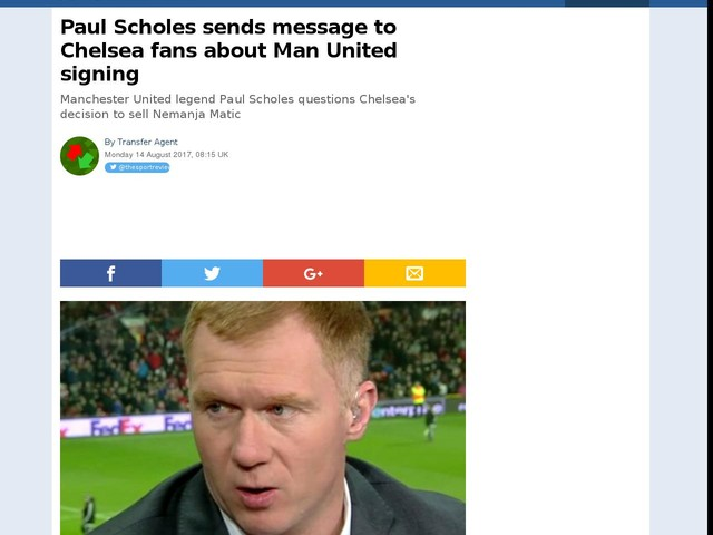 Paul Scholes sends message to Chelsea fans about Man United signing