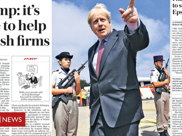 Newspaper review: Boris Johnson talks to Donald Trump and 'threatens' EU