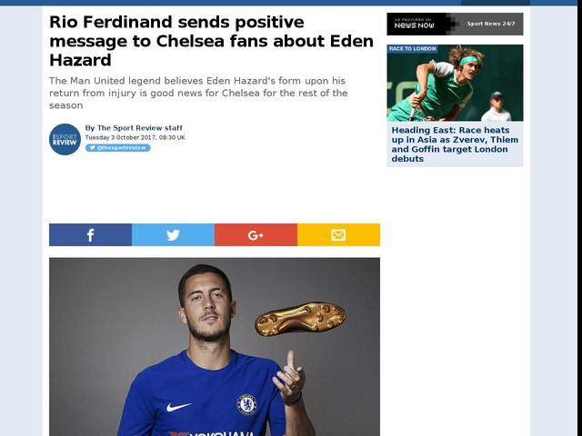 Rio Ferdinand sends positive message to Chelsea fans about Eden Hazard