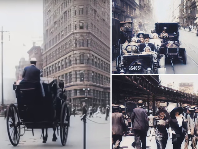 Amazing colourised footage of 1911 New York City created by genius AI