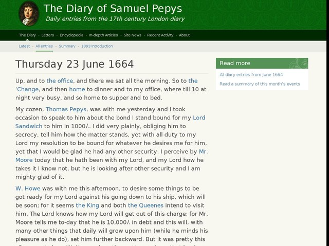 Thursday 23 June 1664