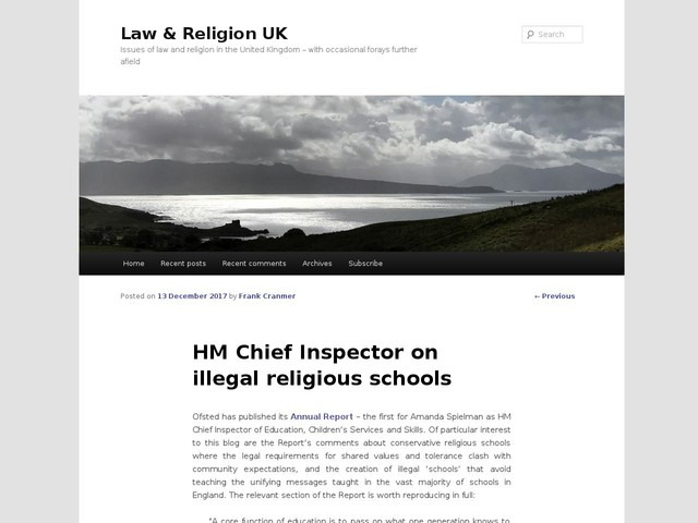 HM Chief Inspector on illegal religious schools