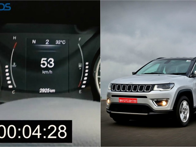 Watch Jeep Compass 1.4 Petrol AT Accelerate From 0-100 Km/h In Different Driving Modes