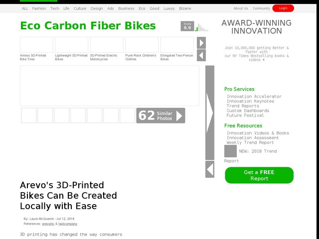 Eco Carbon Fiber Bikes - Arevo's 3D-Printed Bikes Can Be Created Locally with Ease (TrendHunter.com)