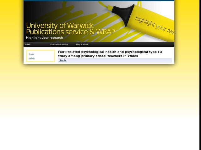 Work-related psychological health and psychological type : a study among primary school teachers in Wales