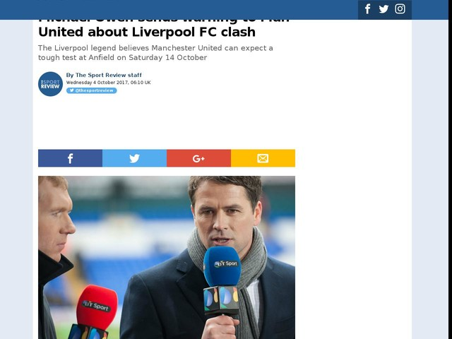 Michael Owen sends warning to Man United about Liverpool FC clash