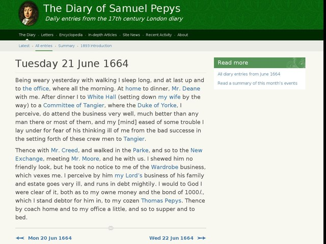 Tuesday 21 June 1664