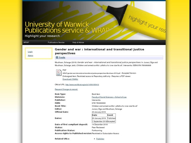 Gender and war : international and transitional justice perspectives
