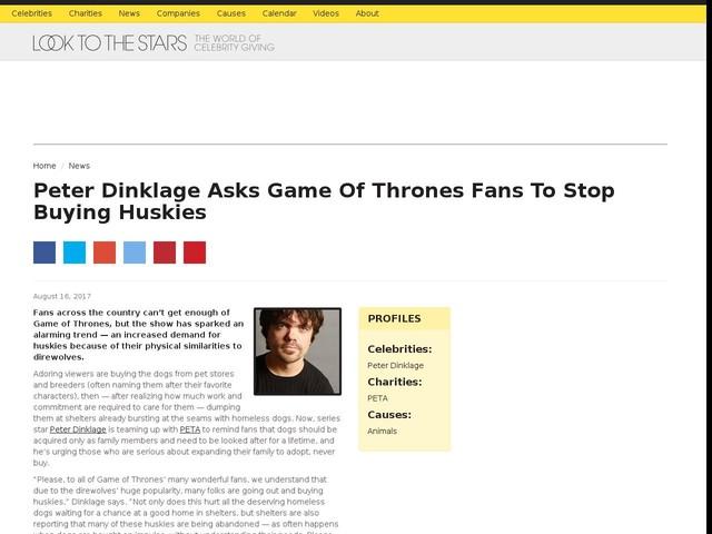 Peter Dinklage Asks Game Of Thrones Fans To Stop Buying Huskies