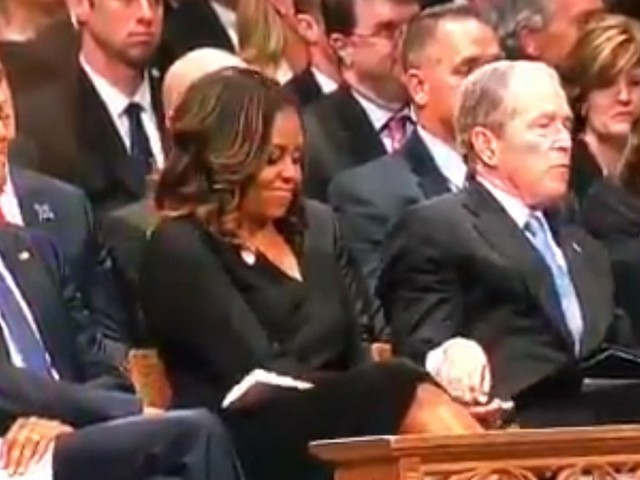 George W. Bush passed Michelle Obama candy during McCain's memorial service — and people are loving their friendship