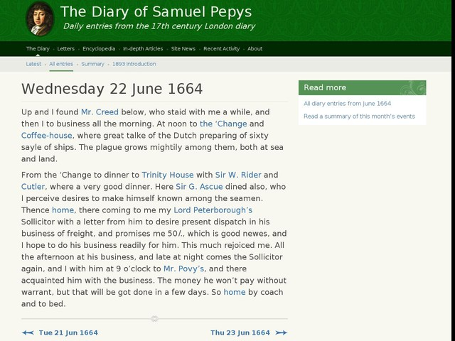 Wednesday 22 June 1664
