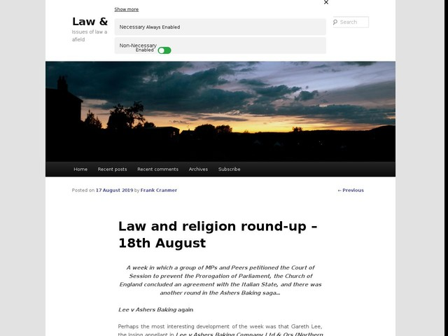 Law and religion round-up – 18th August