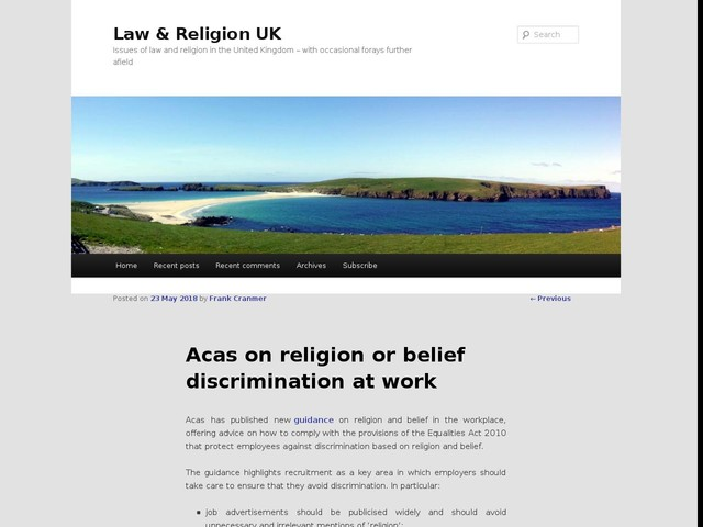 Acas on religion or belief discrimination at work