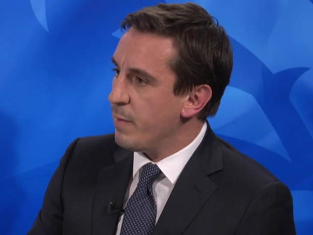 Gary Neville reacts to Georginio Wijnaldum's goal in Liverpool FC's 2-0 win at Cardiff