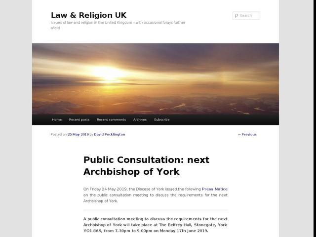 Public Consultation: next Archbishop of York