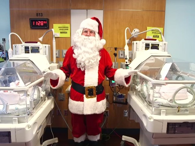 Santa visits the NICU at Texas Children's Hospital