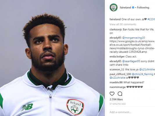 'One of our own' - FAI and Irish fans come out in support of Christie after racial abuse