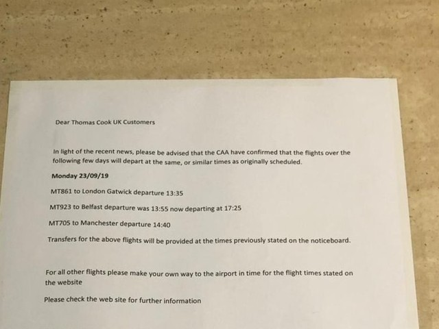 Stranded Thomas Cook customers say a single piece of paper taped to their hotel's reception is the only contact they've had from the collapsed tour operator