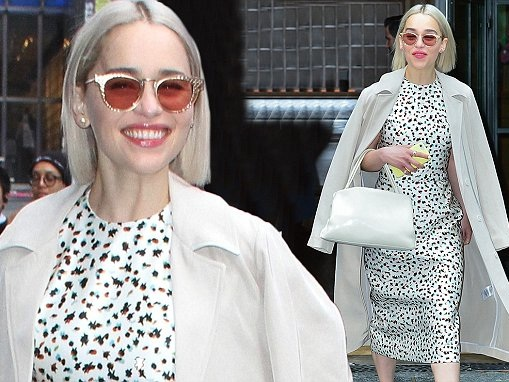 Emilia Clarke dons dress and trench coat on Good Morning America
