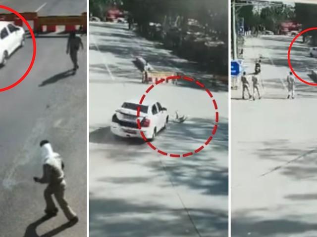 Maruti Dzire Breaks Several Barricades In Lockdown – CCTV Video