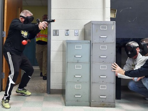 Elementary school teachers were shot with pellet guns 'execution style' during an active shooter drill in Indiana
