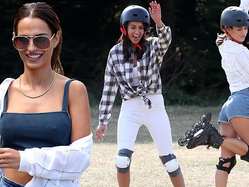 TOWIE's Nicole Bass rollerskates with giddy Clelia Theodorou during socially-distanced filming