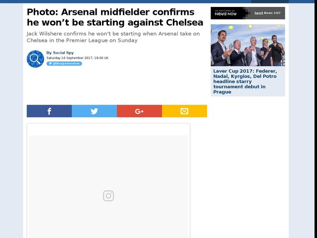 Photo: Arsenal midfielder confirms he won't be starting against Chelsea