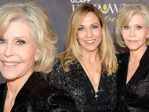 Jane Fonda sports a sparkling suit for the second time this week and joins Sheryl Crow in Atlanta