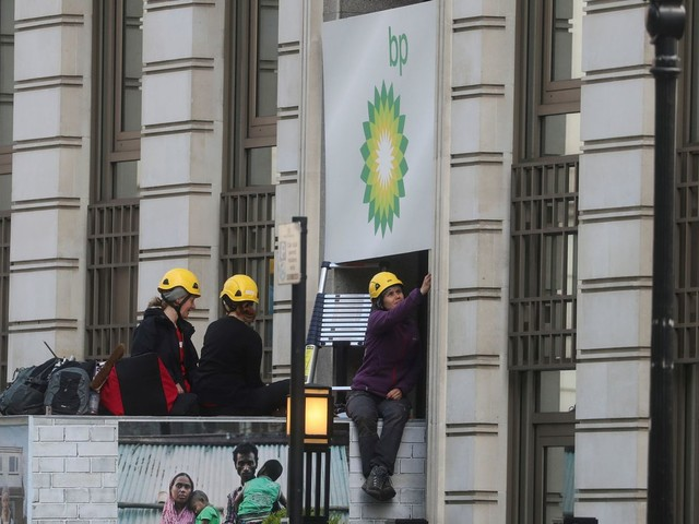 'Clean up or clear out' - Climate activists blockade BP headquarters