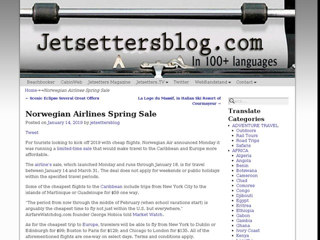Norwegian Airlines Spring Sale
