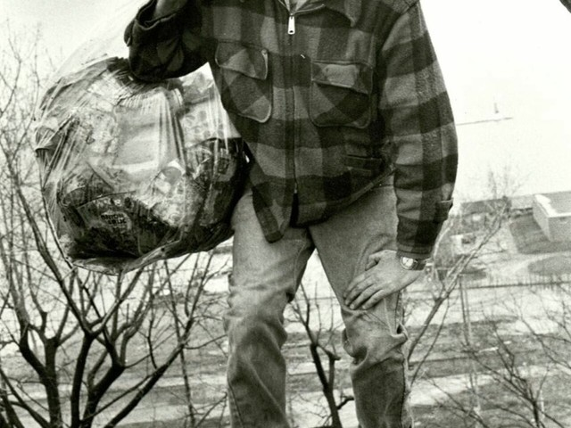 Burlington Mayor Bernie Sanders picks up trash on his own in a public park after being elected in 1981, his first electoral victory