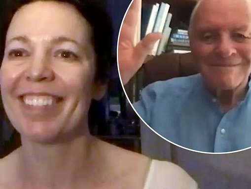 Olivia Colman chats to her The Father co-star Anthony Hopkins during the AFI festival