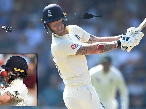 Ben Stokes suffers a head scare after his helmet is damaged by a Josh Hazlewood delivery