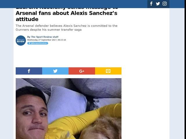 Laurent Koscielny sends message to Arsenal fans about Alexis Sanchez's attitude