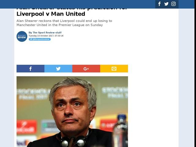 Alan Shearer states his prediction for Liverpool v Man United