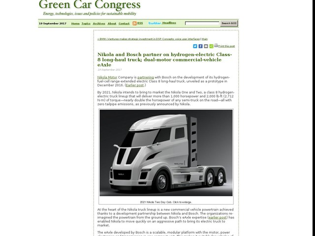 Nikola and Bosch partner on hydrogen-electric Class-8 long-haul truck; dual-motor commercial-vehicle eAxle