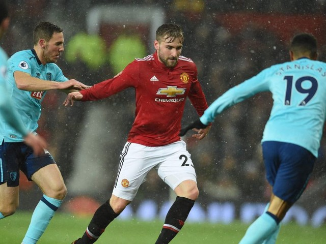 Jose Mourinho embraces Luke Shaw after fine performance on first Premier League start