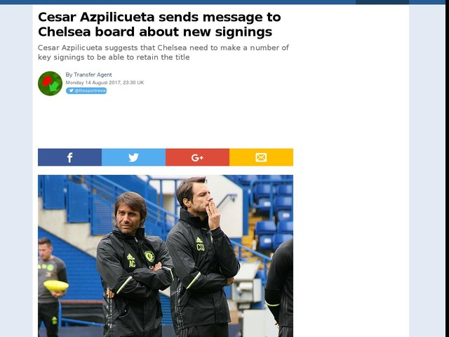 Cesar Azpilicueta sends message to Chelsea board about new signings