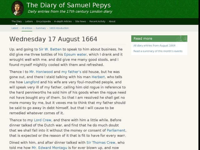 Wednesday 17 August 1664