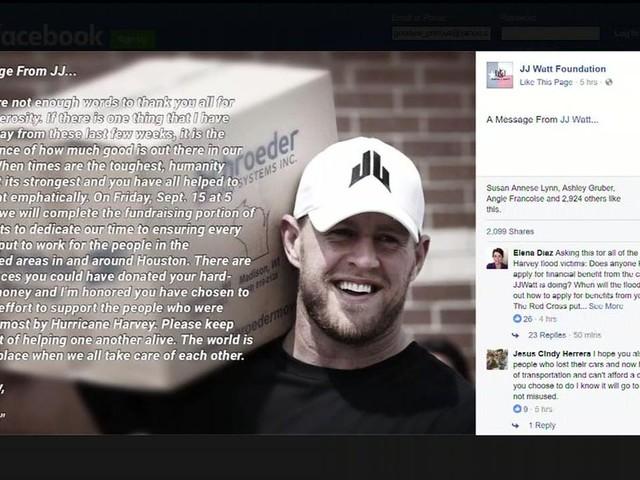 JJ Watt to stop taking Hurricane Harvey donations on Friday