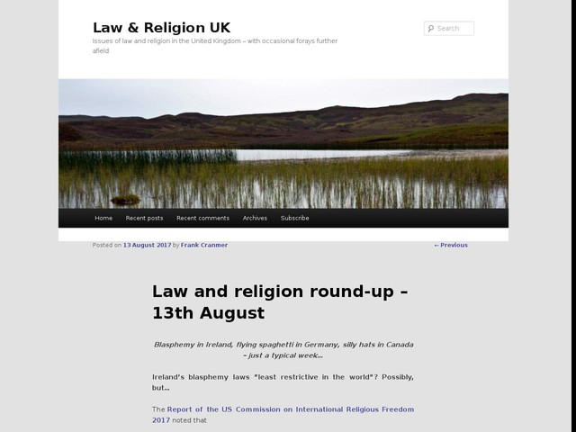 Law and religion round-up – 13th August