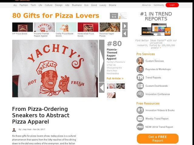 80 Gifts for Pizza Lovers - From Pizza-Ordering Sneakers to Abstract Pizza Apparel (TrendHunter.com)