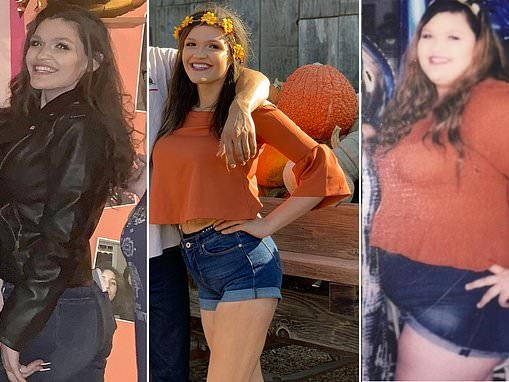 Woman, 23, who weighed 335 pounds flaunts new figure after gastric bypass surgery and losing 196lbs